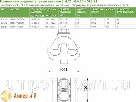 Зажим соединительный плашечный SL8.21 (50-240/50-240) ENSTO, фото 2