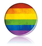 """Закатной значок круглый с ЛГБТ-символикой """"Радужный флаг"""""""