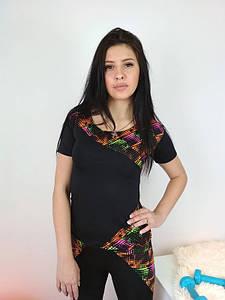 Эластичная футболка для спорта с разноцветными вставками 42-48 р