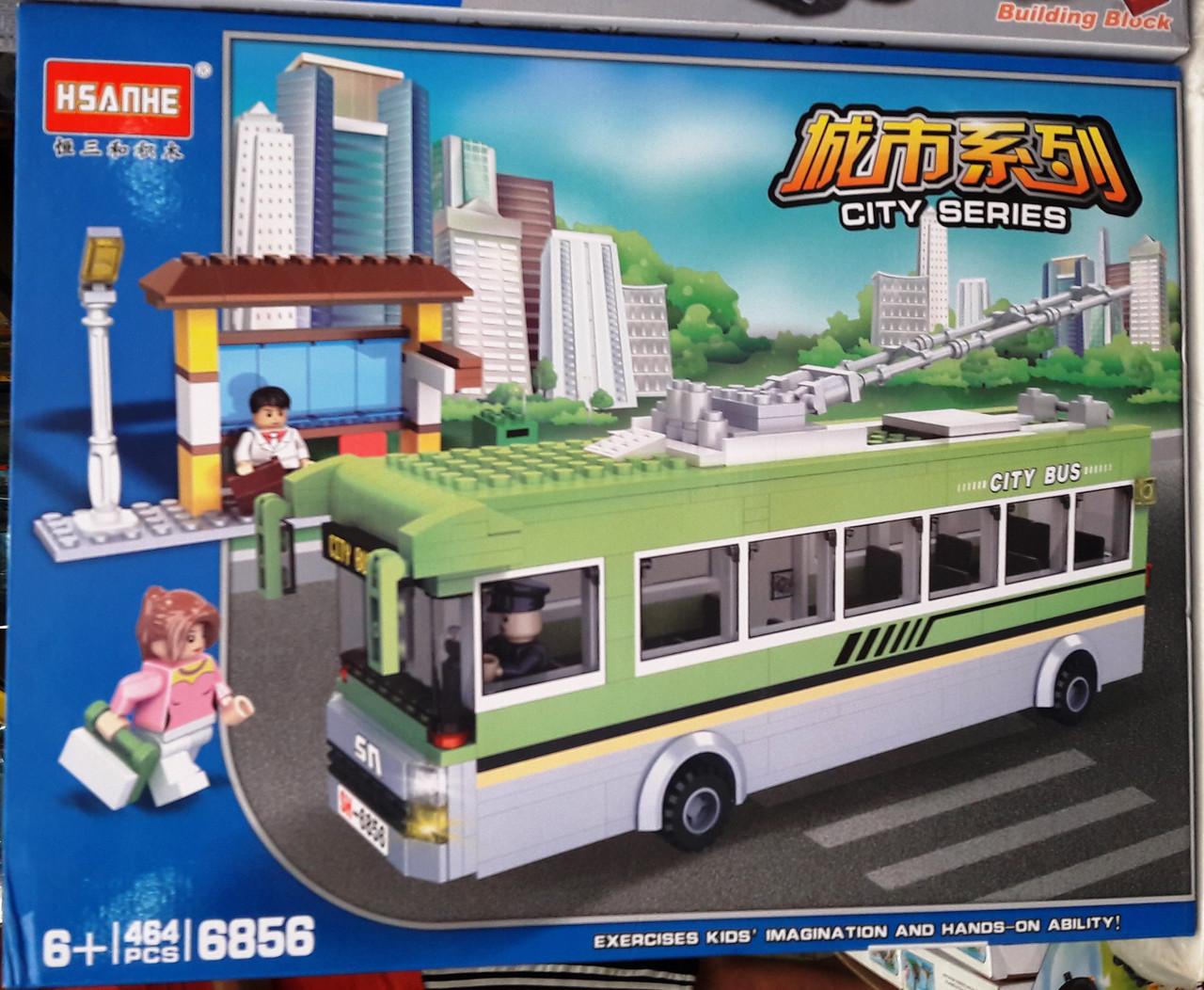 Конструктор HSANHE 6856 Троллейбус и остановка 464 детали