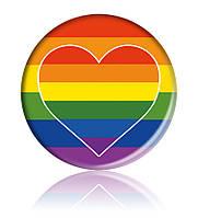 """Закатної круглий значок з ЛГБТ-символікою """"Райдужне Серце"""""""