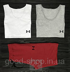 Мужской комплект две майки + шорты Under Armour белого серого и красного цвета (люкс копия)