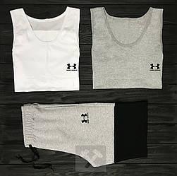 Мужской комплект две майки + шорты Under Armour белого черного серого цвета (люкс копия)