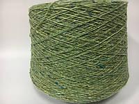 Итальянская пряжа Твид CONDOR (зеленый) Шерсть 62%, шелк 12%, ангора 6%, па 18%. 450 м./100 гр.
