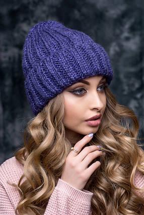 1111 Шапка женская FLIRT с отворотом Агнес 1116  фиолетовый, фото 2