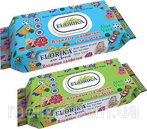 Влажные салфетки для детей Florika Aloe Vera с пластиковым клапаном - 70 шт.