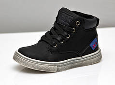 Детские демисезонные ботинки для мальчика 22р.-26р. черные 3876