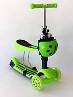 Самокат-беговел 2 в 1 QD ScooTer 0332 зеленый