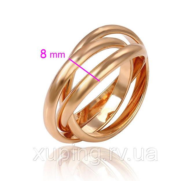 Кольцо позолота, 3в1 без камней, р.16,5, р.17,5, р.18,5