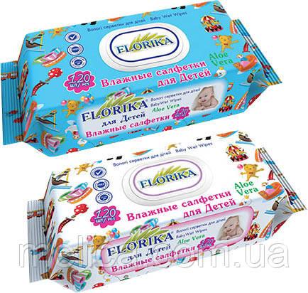 Влажные салфетки для детей Florika Aloe Vera с пластиковым клапаном - 120 шт.