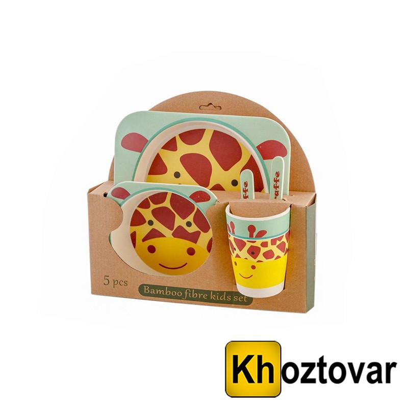 Набір дитячої бамбуковій посуду жираф Eco Bamboo Fibre Kids Set