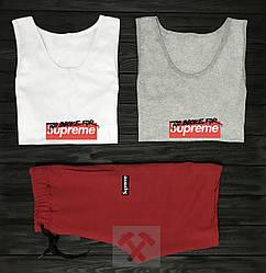 Мужской комплект две майки + шорты Supreme белого серого и красного цвета (люкс копия)