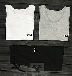 Мужской комплект две майки + шорты Fila серого белого и черного цвета (люкс копия)