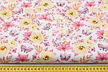 """Ткань хлопковая """"Цветочки среднего размера розовые и жёлтые с бабочками"""" (№ 1524а), фото 2"""