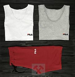 Мужской комплект две майки + шорты Fila белого серого и красного цвета  (люкс копия)