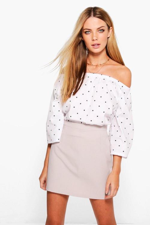 Новая светло-серая юбка-трапеция Boohoo