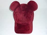 Велюровая бордовая кепка с ушками