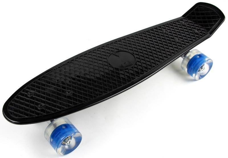 Penny Board Black Светящиеся синие колеса (до 80 кг) Гарантия качества Быстрая доставка