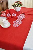 Льняная скатерть, льняная дорожка на стол, салфетки льняные с вышивкой орнамента