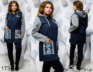 Теплый спортивный костюм куртка джинс на синтепоне до 56