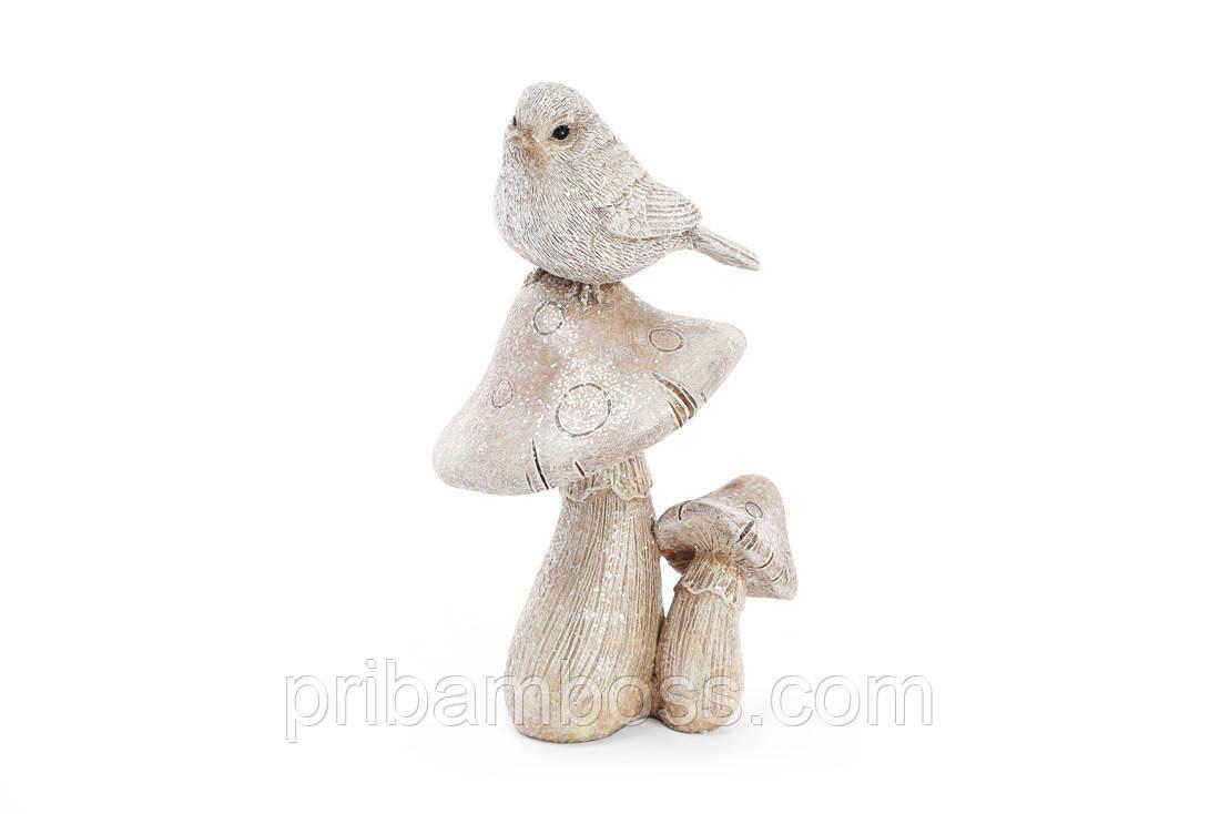 Декоративна статуетка Пташка на грибах 15см