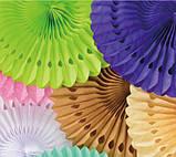 Гирлянда веер айвори - диаметр 12см, картон, бумага, нить, фото 3