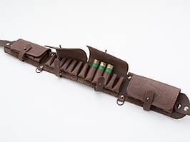Патронташ на 24 патрона закрытый кожаный коричневый 5100/2