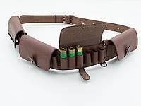 Патронташ на 24 патрона закрытый кожа-спилок коричневый 5101/2, фото 1