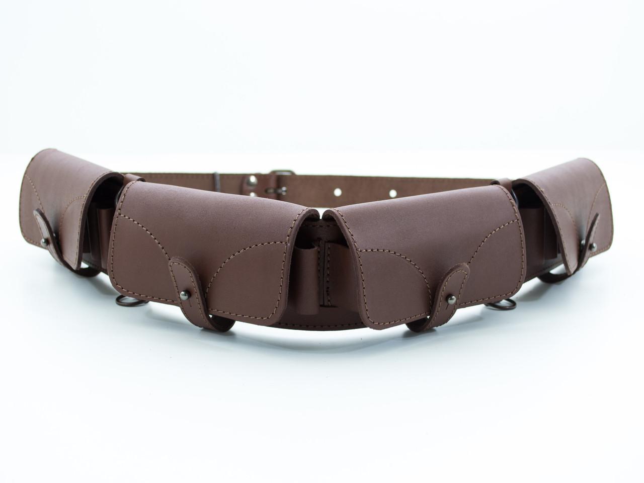 Патронташ на пояс на 24 патрона закрытый кожа-спилок коричневый 5101/2