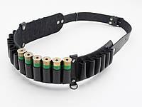 Патронташ на 24 патрона открытый кожа черный 5150/1, фото 1
