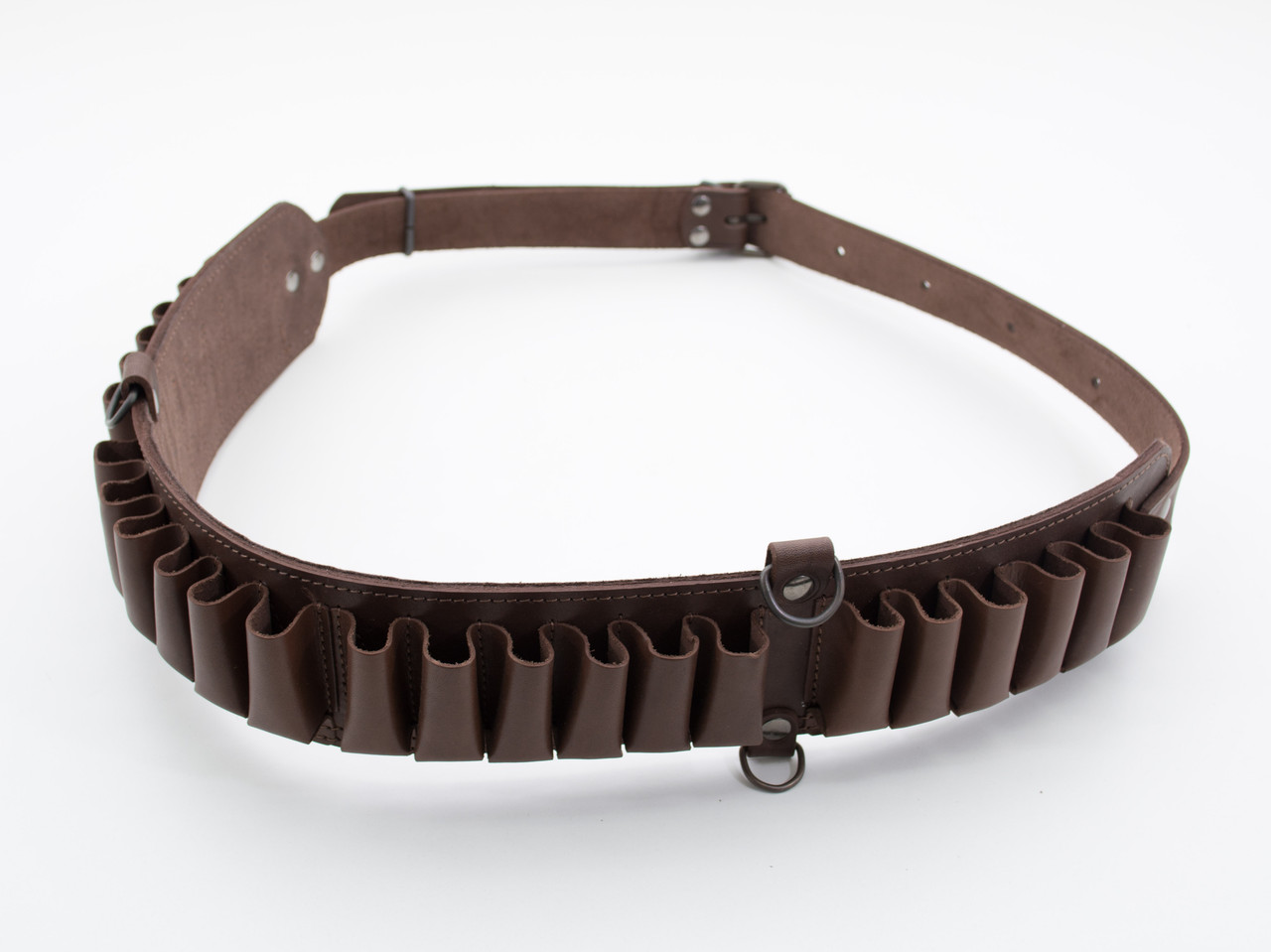 Патронташ на пояс на 24 патрона открытый кожа коричневый 5150/2