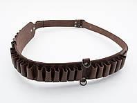 Патронташ на пояс на 24 патрона открытый кожа коричневый 5150/2, фото 1