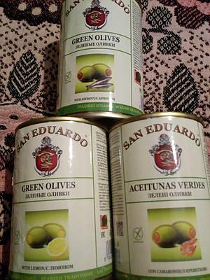 Оливки  зелёные с лимоном, анчоусами,  ИСПАНИЯ