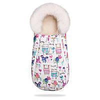 Конверт-кокон на овчине Baby XS ДоРечі (рисунки на белом фоне, с опушкой)
