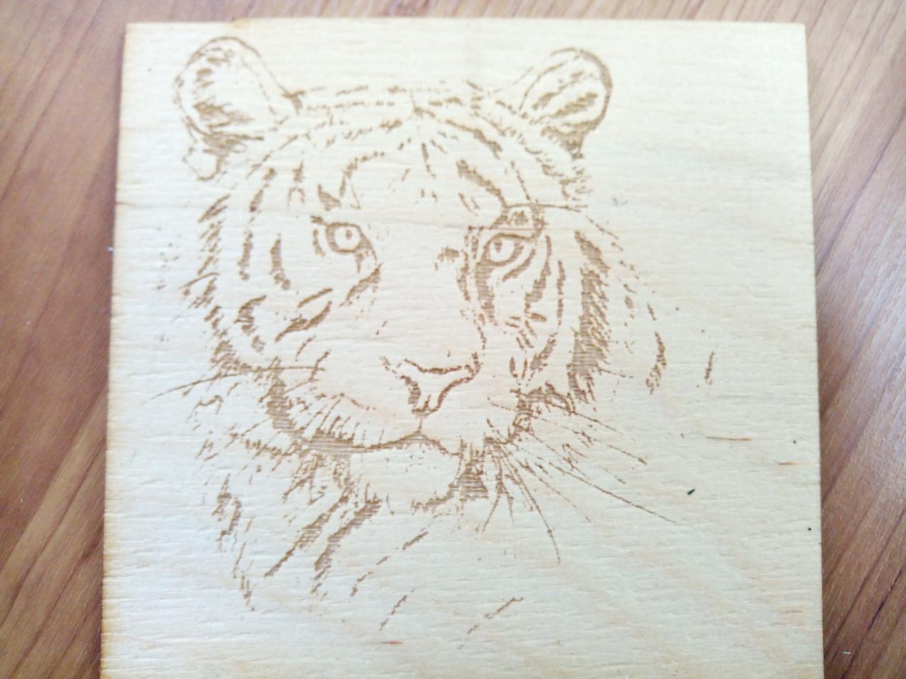 Лазерная гравировка по фанере 4 мм, картина (Тигр)