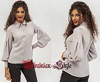 54941973181 Женская нарядная блуза-рубашка с пышными рукавами. 3 цвета!