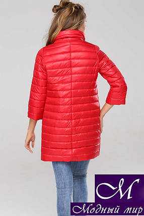 Удлиненная демисезонная куртка женская (р. 42-54) арт. Анаит алый, фото 2