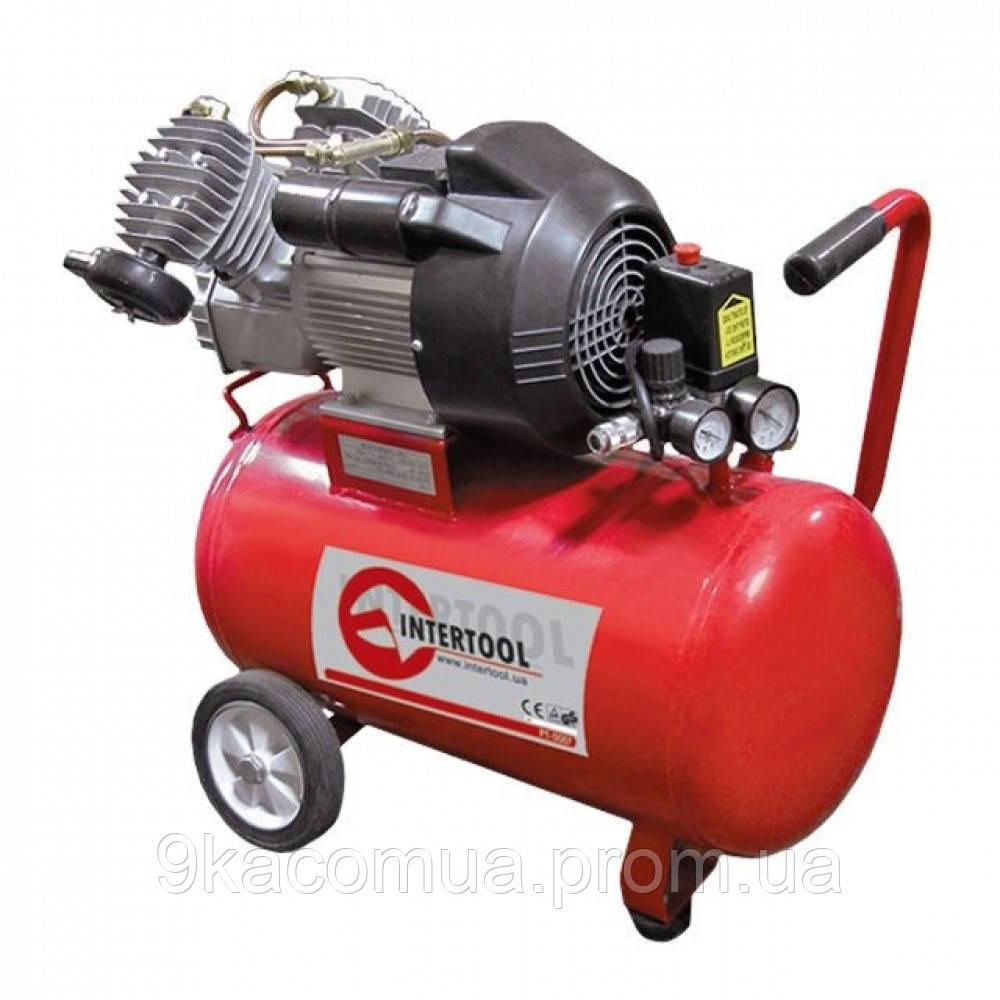Компрессор 50 л, 4 HP, 3 кВт, 220 В, 8 атм, 420 л/мин, 2 цилиндр. INTERTOOL PT-0007 MG