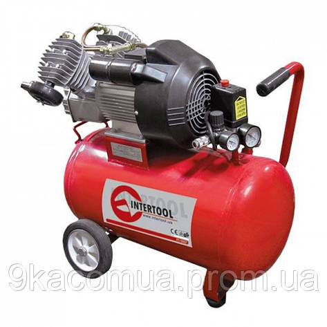 Компрессор 50 л, 4 HP, 3 кВт, 220 В, 8 атм, 420 л/мин, 2 цилиндр. INTERTOOL PT-0007 MG, фото 2