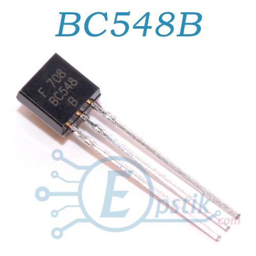 BC548B, транзистор биполярный NPN, 30В 0.5А, TO92