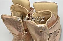 Детские демисезонные LED ботинки подошва светится для девочек золото с подсветкой 26р., фото 3
