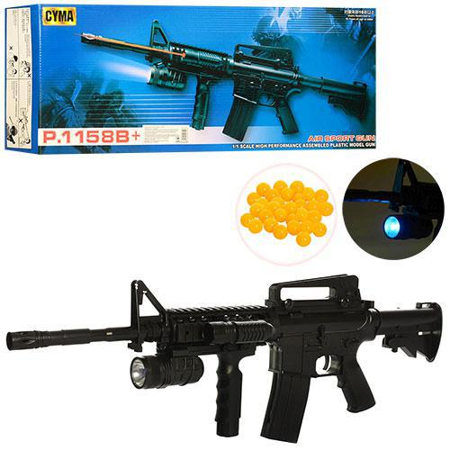 Автомат іграшкова зброя P. 1158B+ батарейки , лазер, приціл, кульки, в коробці 60*23.5*6.5 див.