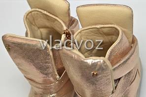 Детские демисезонные LED ботинки подошва светится для девочек золото с подсветкой 27р., фото 3
