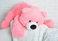 Плюшевый мишка Умка лежащий средний, длина 80 см, розовый