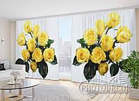 "Фото Шторы в зал ""Букеты желтых роз"" 2,7м*2,9м (2 м по 1,45м), тесьма"