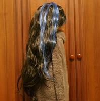 Длинный карнавальный парик с цветными полосами. 5