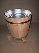 Кадка для цветов дубовая 7 л с металл. вставкой