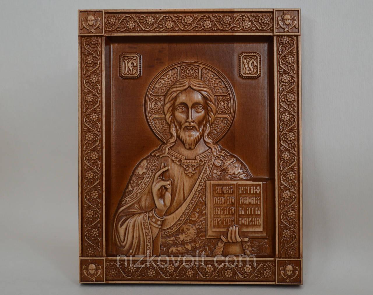 """Икона """"Господь Вседержитель"""" - резьба по дереву (160х200х18)"""