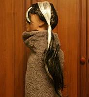 Длинный карнавальный парик с белыми полосами. 2