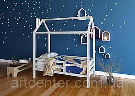 Кроватка-домик с ножками и бортиком из натурального дерева
